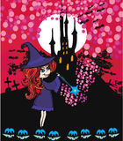 Cute cartoon illustration of a witch Stock Photography