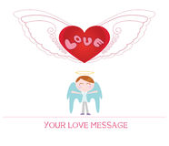Cute cartoon illustration of young angel man in love Stock Photography