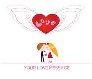 Cute cartoon illustration of young woman and man in love Stock Photography