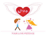 Cute cartoon illustration of young woman and man in love Royalty Free Stock Photos