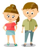 Cute Cartoon Illustration Of Young Woman And Man Royalty Free Stock Photo