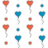 Cute cartoon independence day seamless vector pattern background illustration with blue and red heart balloons and stars Stock Photo
