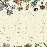Cute cartoon insect border pattern. Summer concept background. Royalty Free Stock Image