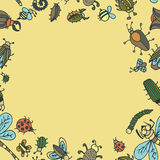 Cute cartoon insect border pattern. Summer concept background. Royalty Free Stock Images