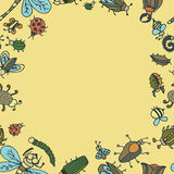 Cute cartoon insect border pattern. Summer concept background. Stock Photo