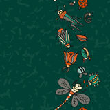 Cute cartoon insect border pattern. Summer concept background. Stock Image