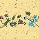 Cute cartoon insect border pattern. Summer concept background. Stock Photos