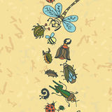 Cute cartoon insect border pattern. Summer concept background. Stock Images