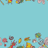 Cute cartoon insect border pattern. Summer concept background. Royalty Free Stock Photo