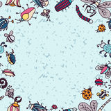 Cute cartoon insect border pattern. Summer concept background. Royalty Free Stock Photography