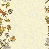 Cute cartoon insect border pattern. Summer concept background. Colorful vector background with doodle beetles Stock Image
