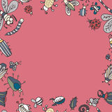 Cute cartoon insect border pattern. Summer concept background. Royalty Free Stock Photos