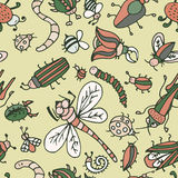 Cute cartoon insect pattern. Summer concept texture. Stock Photo