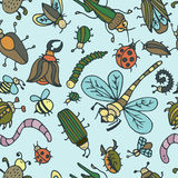 Cute cartoon insect pattern. Summer concept texture. Royalty Free Stock Photography