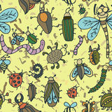 Cute cartoon insect pattern. Summer concept texture. Stock Photos