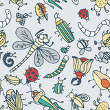 Cute cartoon insect pattern. Summer concept texture. Royalty Free Stock Photos