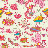 Cute cartoon insect pattern. Summer concept texture. Stock Photography