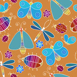 Cute cartoon insect set. Dragonflies, butterflies and bugs. Vector seamless pattern. Royalty Free Stock Photo