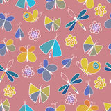 Cute cartoon insect set. Dragonflies, butterflies and bugs. Vector seamless pattern. Stock Photos
