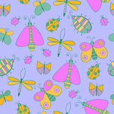 Cute cartoon insect set. Dragonflies, butterflies and bugs. Vector seamless pattern. Royalty Free Stock Images