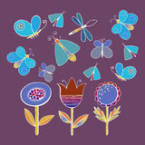 Cute cartoon insect set. Dragonflies, butterflies and flowers. . Vector illustration. Royalty Free Stock Photos