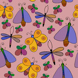Cute cartoon insect set. Dragonflies, butterflies. Vector seamless pattern. Royalty Free Stock Image