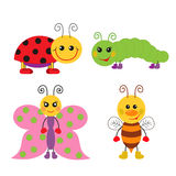 Cute cartoon insect set Royalty Free Stock Photos