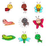 Cute cartoon insects and bugs. A vector illustration of Cute cartoon insects and bugs icon Royalty Free Stock Photos
