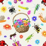 Cute cartoon insects pattern royalty free illustration
