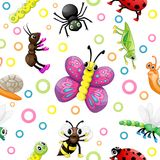 Cute cartoon insects pattern. On white background Royalty Free Stock Photo
