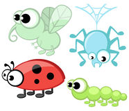 Cute cartoon insects set Royalty Free Stock Photo