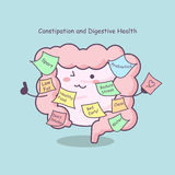 Cute cartoon intestine with reminder Royalty Free Stock Photo
