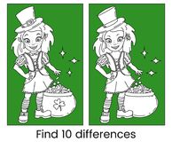 Cute cartoon irish leprechaun girl with the pot full of golden coins. Outline vector illustration for St. Patricks Day. Cute cartoon irish leprechaun girl with Royalty Free Stock Images