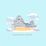 Cute cartoon japan kumamoto castle Stock Images