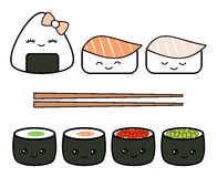 Cute cartoon japanese food set illustration isolated on white background Stock Photos