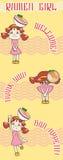 Cute cartoon Japanese waitress girl child  Royalty Free Stock Photos
