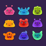 Cute cartoon jelly monsters, vector Royalty Free Stock Photos