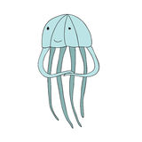 Cute cartoon jellyfish character, vector isolated illustration in simple style. Stock Image
