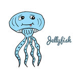 Cute cartoon jellyfish. Ocean animal vector illustration.Sea creature, Medusa, in a funny, hand drawn style Stock Images