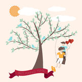 Cute cartoon joyful with relaxing time background Stock Photography
