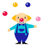 Cute cartoon jugglery Clown character. Happy cute clown isolated on white. Vector Illustration Royalty Free Stock Photo