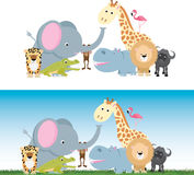 Cute cartoon jungle safari animal set Royalty Free Stock Photo
