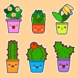 Cute cartoon kawaii set of plant, cactus succulents and flowers with funny faces Flat design Royalty Free Stock Image