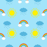 Cute cartoon kawaii sun, cloud with rain, rainbow set. Baby Seamless Pattern Wrapping paper, textile template. Blue background. Fl Royalty Free Stock Photography
