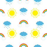 Cute cartoon kawaii sun, cloud with rain, rainbow set. Baby Seamless Pattern Wrapping paper, textile template. White background. F. Lat design. Vector Stock Photo