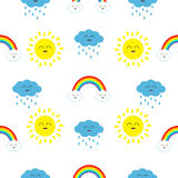Cute cartoon kawaii sun, cloud with rain, rainbow set. Smiling face emotion. Baby character Seamless Pattern Wrapping paper Stock Photography