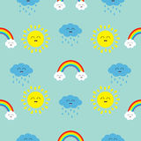 Cute cartoon kawaii sun, cloud with rain, rainbow set. Smiling face emotion. Baby character Seamless Pattern Wrapping paper. Textile template. Blue background stock illustration