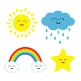 Cute cartoon kawaii sun, cloud with rain, star, rainbow set. Smiling face emotion. . White background Baby charcter collection Funny illustration. Flat design Stock Photos