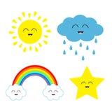 Cute cartoon kawaii sun, cloud with rain, star, rainbow set. Stock Photos