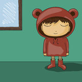 Cute cartoon kid with bear ear hoodie Stock Photo